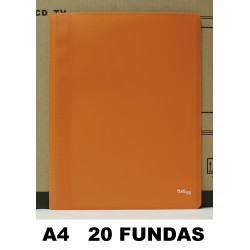CARPETA FUNDAS PLUS A4 ECO FLEX.20F.NARANJA