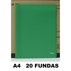 CARPETA FUNDAS PLUS A4 ECO FLEX.20F.VERDE