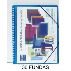 CARPETA FUNDAS PLUS A4 ESPIRAL/GOMAS 30F.AZUL