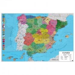 MAPA ESPAÑA FISICO POLITICO 61X91,5
