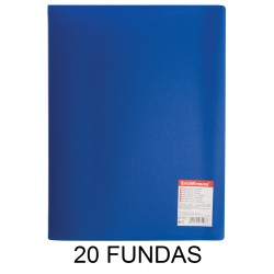 CARPETA FUNDAS A4 FLEXIBLE 20F.AZUL
