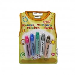 SET 5 PINTURAS PARA TELA BRILLANTINA 7ML