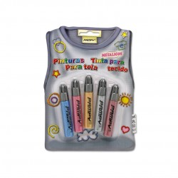SET 5 PINTURAS PARA TELA COL. METALICO 7ML