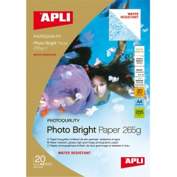 PAPEL PHOTO APLI A4 Bright Water Resistant 265g.