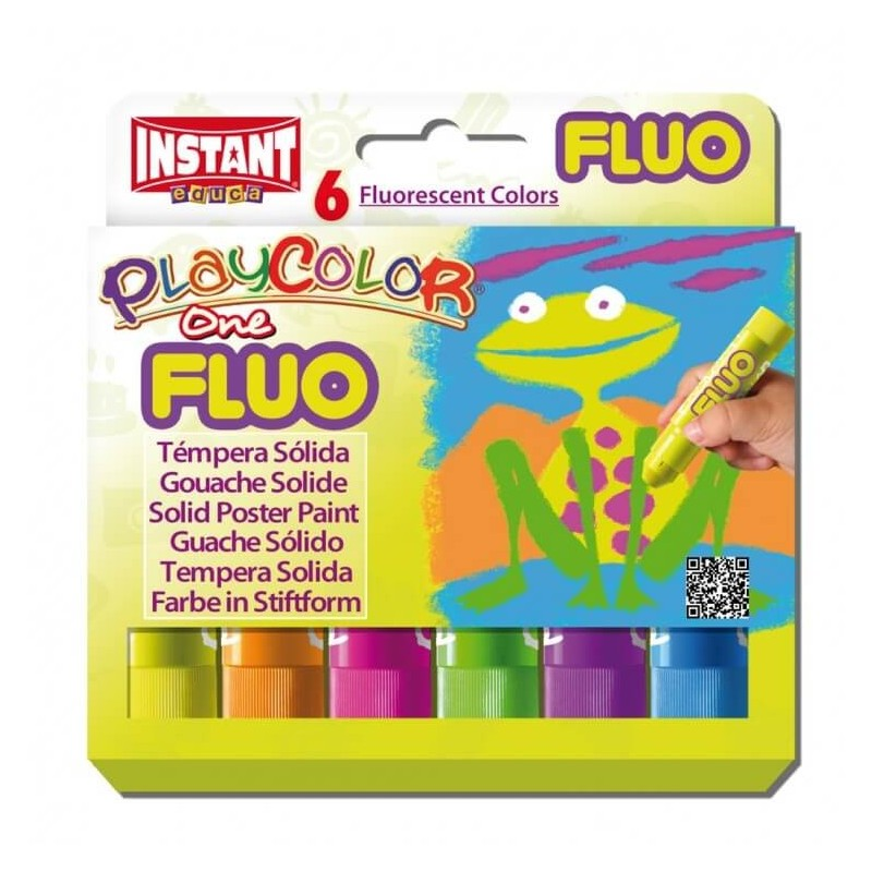 Témpera Playcolor One Fluo 6 colores surtidos