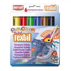 Témpera Playcolor Pocket Textil 6 colores surtidos