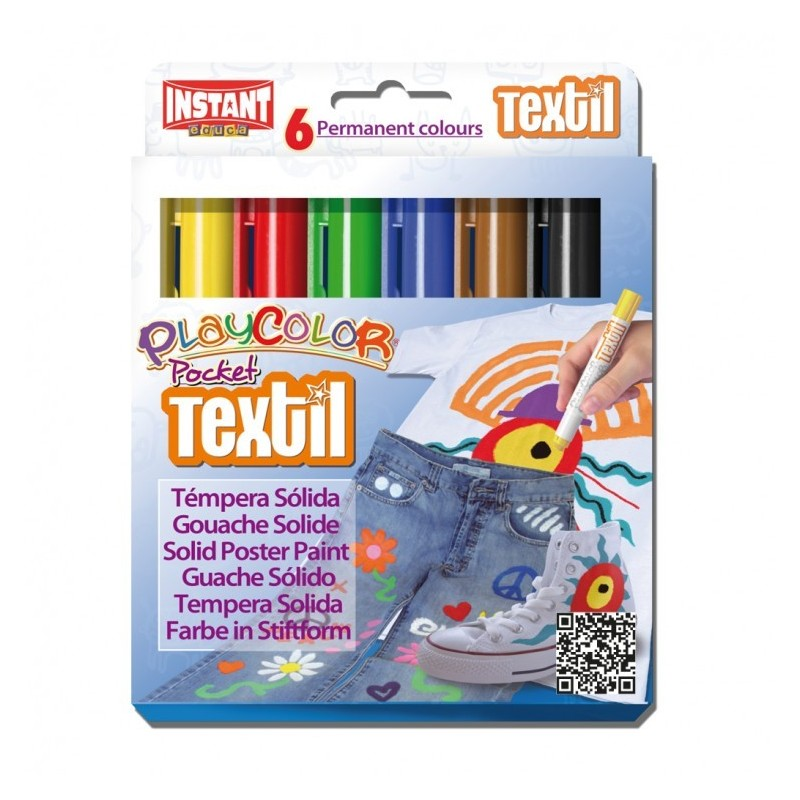 Témpera Playcolor Pocket Textil 6 colores surtidos