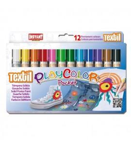 Témpera Playcolor Pocket Textil 12 colores surtidos