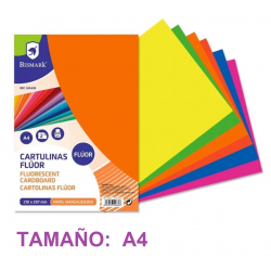 CARTULINAS FLUORESCENTES A4 PACK 2 COLORES