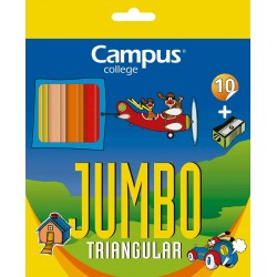 LÁPICES CAMPUS JUMBO TRIANGULAR 10 COLORES
