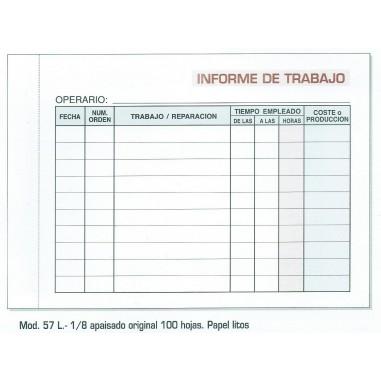 Talonarios Informe Trabajo Nº 57L 10 unds