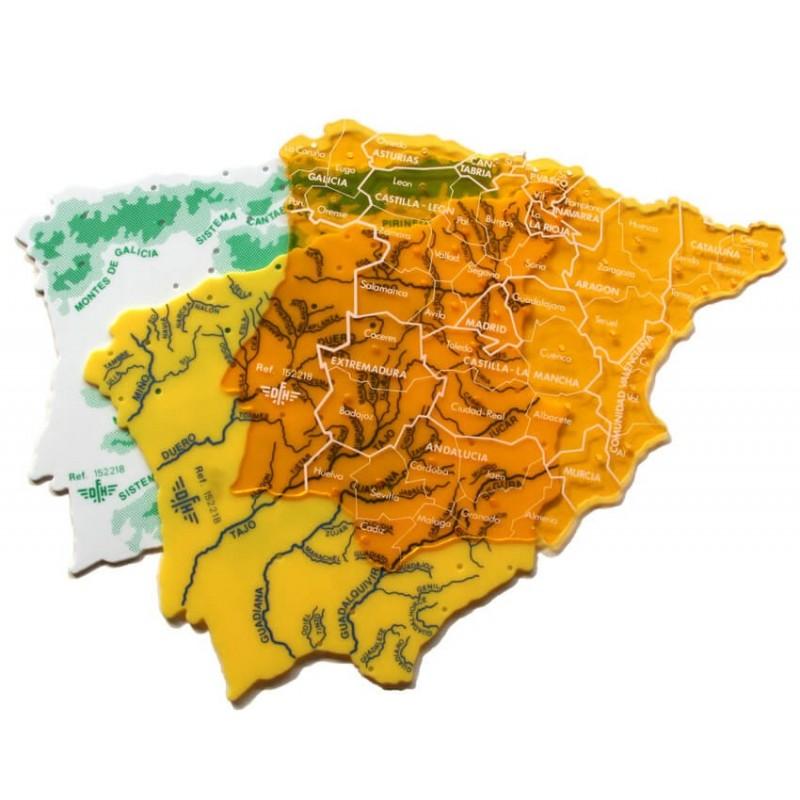 Juego Plantillas Mapa España Grande (Envase 5 juegos)