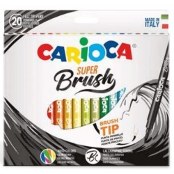 ROTULADOR SUPER BRUSH CARIOCA 20 COLORES
