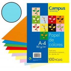 PAPEL A4 80GR CAMPUS AZUL PASTEL/100H
