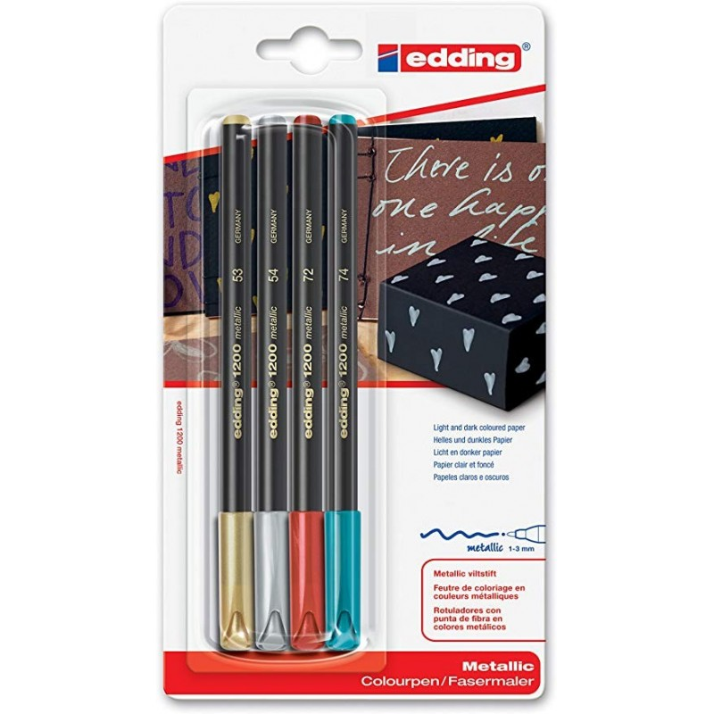 BLISTER 4 ROTULADOR EDDING 1200 METALLIC
