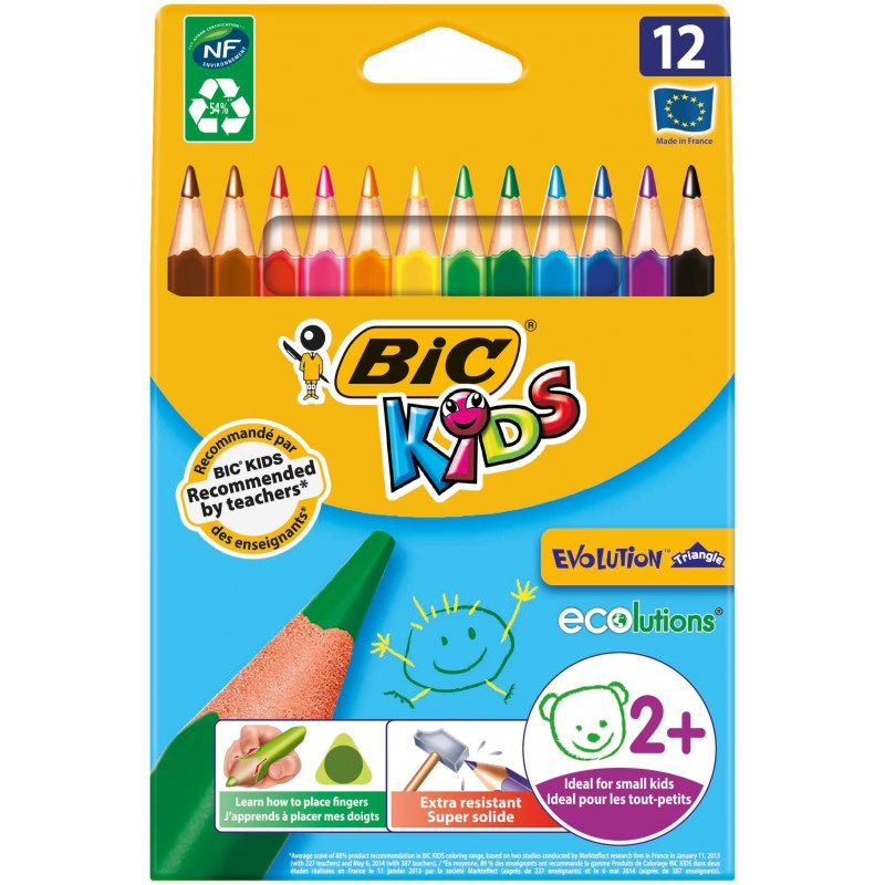 LAPIZ BIC EVOLUTION KIDS TRIANGLE 12 COLORES