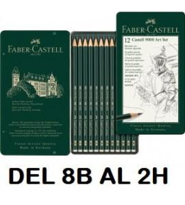 Estuche 12 LAPICES Faber Castell 9000 8B-2H