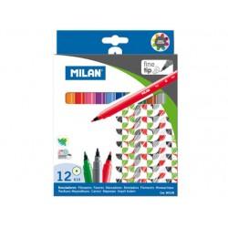 Rotuladores Milan Punta Fina 12 Colores