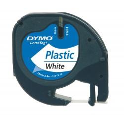 CINTA DYMO LETRATAG PLASTICO BLANCO 12x4