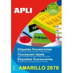 ETIQUETA APLI A4 AMARILLA FLUOR P/20
