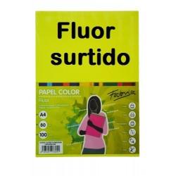 PAPEL A4 FLUOR SURTIDO 80GR 100H