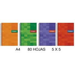BLOC A4 CAMPUS 80H T/FORRADA 5X5 90GR P/6
