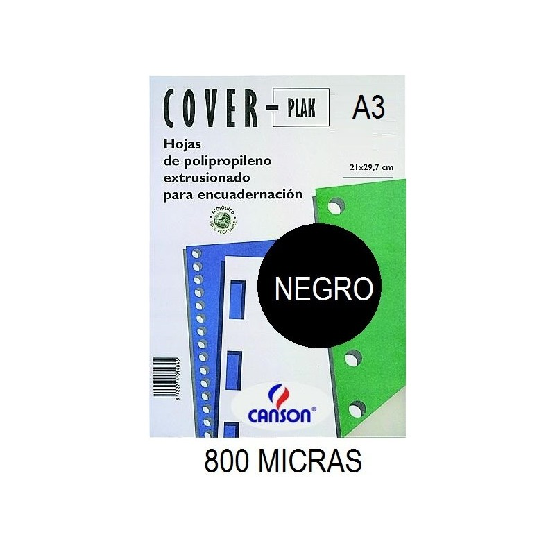 PORTADA A3 COV-PLAK 800 MICRAS NEGRO P/50