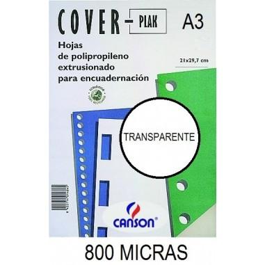 PORTADA A3 COV-PLAK 800 MICRAS TRANSPARENTE P/50