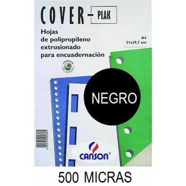 PORTADA A4 COV-PLAK 500 MICRAS NEGRO P/100