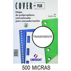 PORTADA A4 COV-PLAK 500 MICRAS TRANSPARENTE P/100