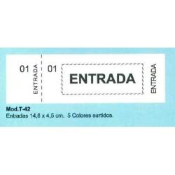 TALONARIO ENTRADAS 14,8X4,5 CM 5 COLORES SURTIDOS T-42/36 P/20