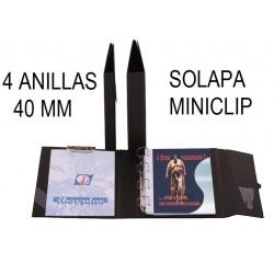 CARPETA PLÁSTICO Fº 4 ANILLAS 40 mm SOLAPA/CLIP