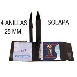 CARPETA PLÁSTICO Fº 4 ANILLAS 25 mm SOLAPA