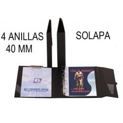 CARPETA PLÁSTICO Fº 4 ANILLAS 40 mm SOLAPA