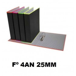 CARPETA CARTÓN FOLIO 4 ANILLAS 25 MM FLUOR