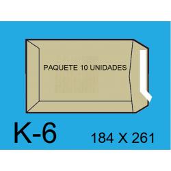BOLSA 184X261 K-6 KRAFT 10un
