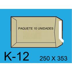 BOLSA 250X353 K-12 KRAFT P/10