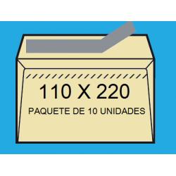 SOBRES 110X200 VERJURADO CREMA 10un.