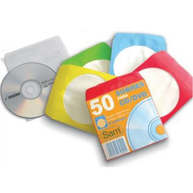 SOBRES CD COLORES PAQ.50