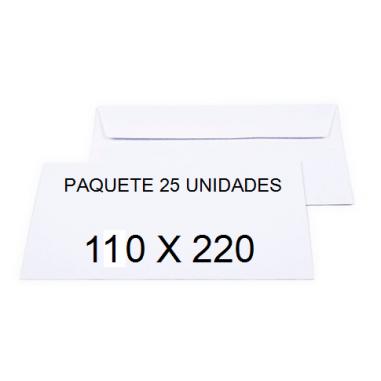SOBRES SAM 110X220 OPEN 110 BLANCO P/25
